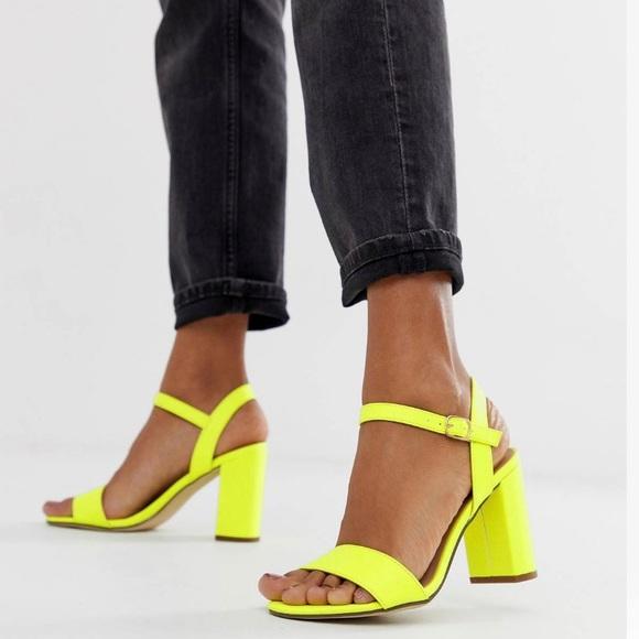 600105fcb73 ASOS new look block heel in neon yellow